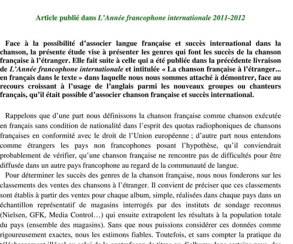 """La chanson française à l'étranger (en français) : succès et enjeux"""" – Nouvelles – Conseil Francophone de la Chanson"""